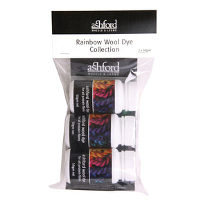 Ashford Wool Dye Rainbow Collection 3 x 50gm tubs, scarlet, blue & yellow