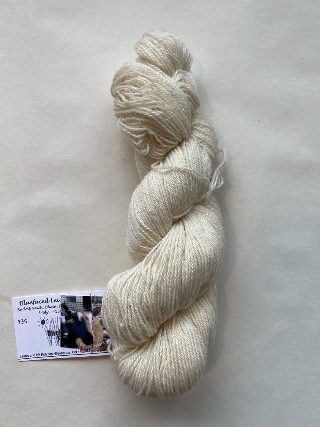 Bluefaced Leicester 3ply Yarn (white)