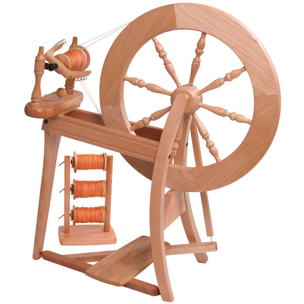 Double Drive Traditional Spinning Wheel Natural