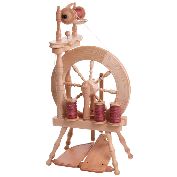 Traveller Double Treadle Single Drive Spinning Wheel Natural