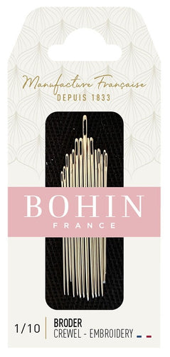 Bohin Assorted Embroidery Needles, Sizes No. 1/10 x 15pc.