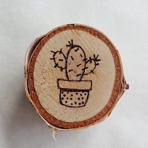 Wood Burned Birch Magnet