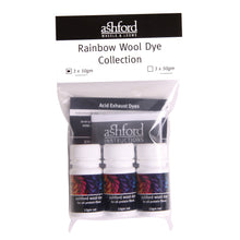 Load image into Gallery viewer, Ashford Wool Dye Rainbow Collection 3 x 10gm tubs, scarlet, blue & yellow