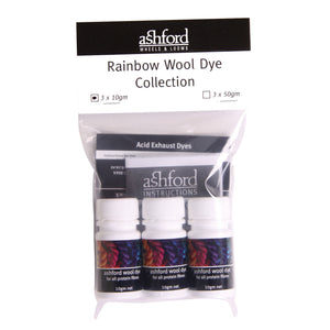 Ashford Wool Dye Rainbow Collection 3 x 10gm tubs, scarlet, blue & yellow