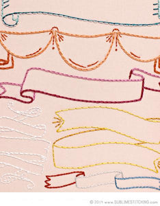 Embroidery Patterns - Small Pack - RIBBONS AND BANNERS - Sublime Stitching