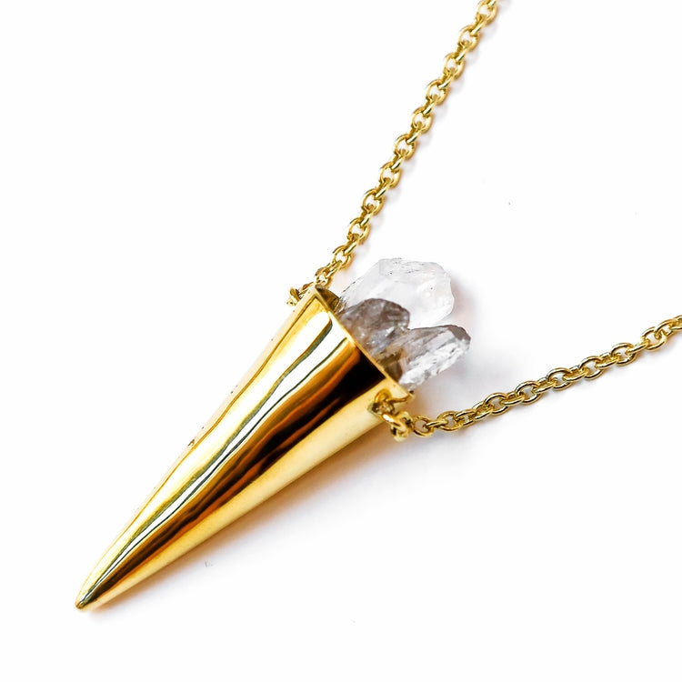Quartz crystal cone necklace