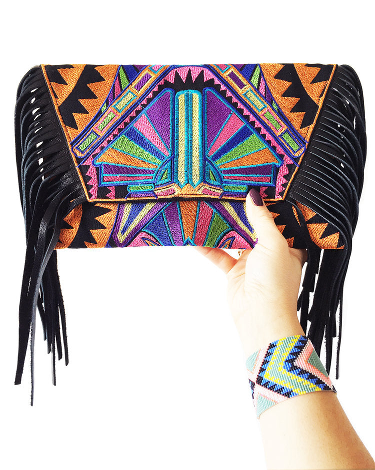 Tribe Leather Fringe Bag - Orange Print