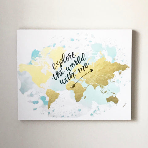 watercolor map, world map decor, hand lettered map, gold foil