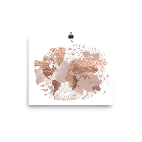 Rose Gold & Blush | World Map Art Print