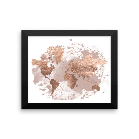 Framed Rose & Blush | World Map Art