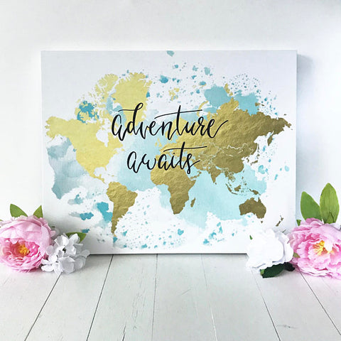 adventure awaits, canvas, watercolor canvas, gold foil world map