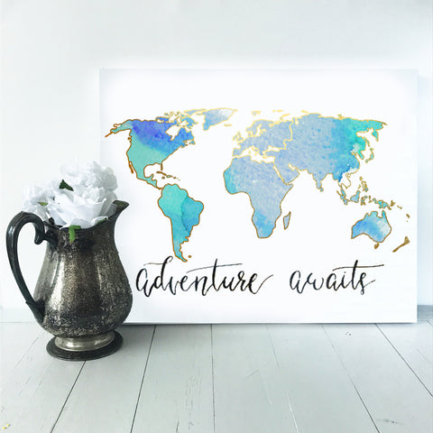 Watercolor World Map | Blue and Teal
