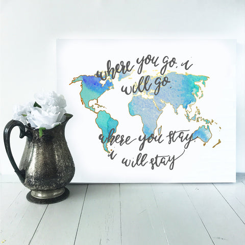 map canvas, watercolor map, map quote, travel quote