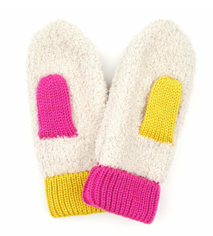 Ivory Multi Color Mittens