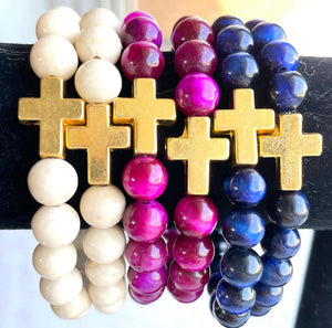 Beaded Gold Cross Bracelet (assorted colors)