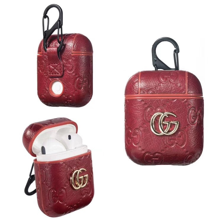 Gucci Pendant Emboss Airpods Case Red Elevatedcases