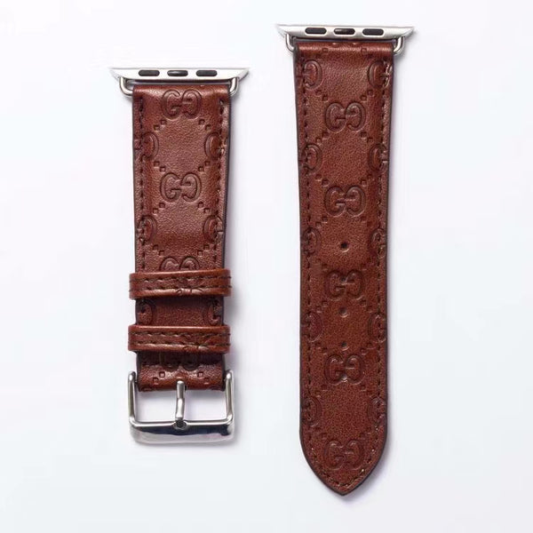 GG EMBOSS APPLE WATCH BAND - BROWN