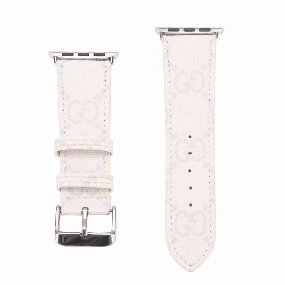 GG MONOGRAM APPLE WATCH BAND - WHITE