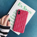 DIOR MONOGRAM CASE - HOT PINK