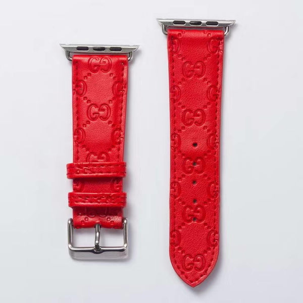 GG EMBOSS APPLE WATCH BAND - RED