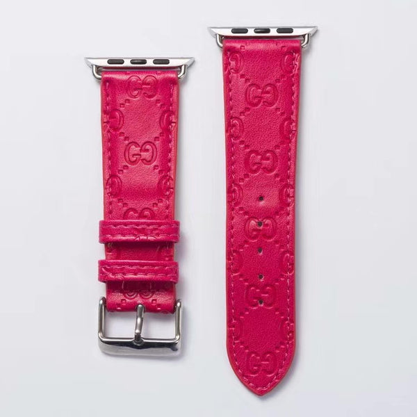 GG EMBOSS APPLE WATCH BAND - HOT PINK