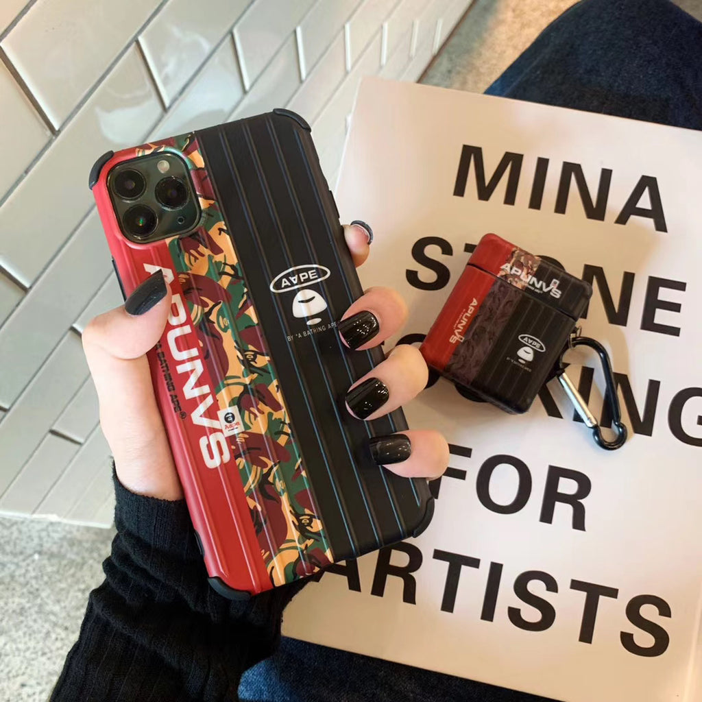 Ape Red iPhone Case & Airpod 1&2 Case Bundle