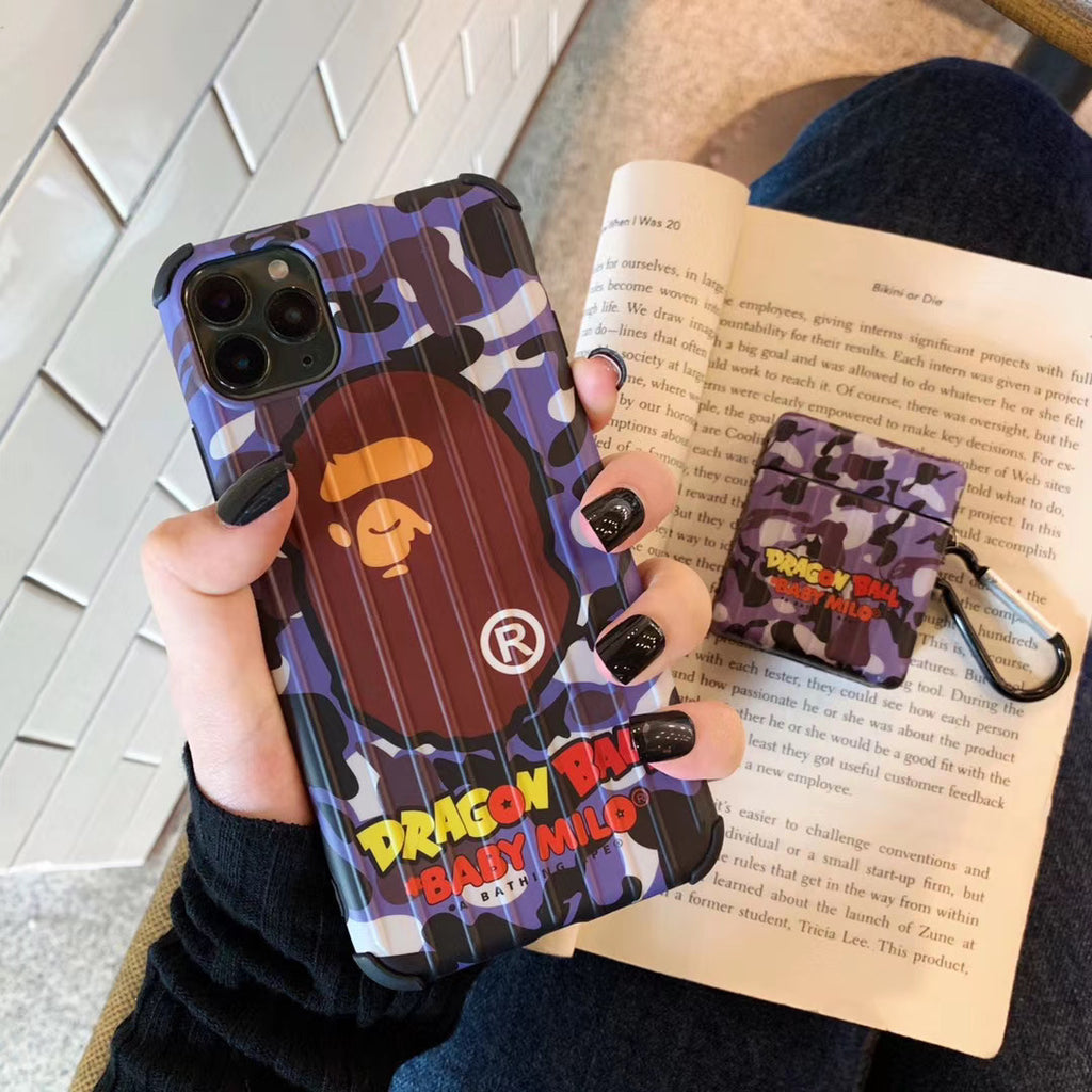 Bape Purple Camo iPhone Case & Airpod 1&2 Case Bundle