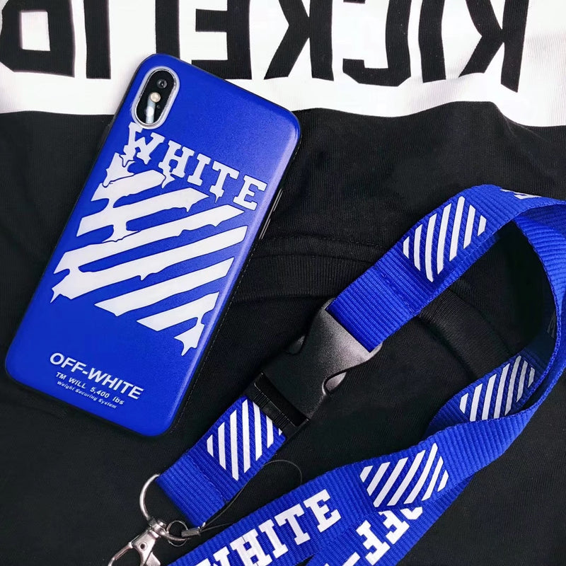 Blue Rugged Off-White Case + Lanyard