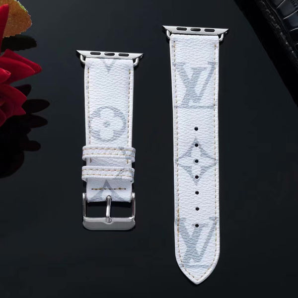 New 2019 LV Monogram Apple Watch Band - White & Grey