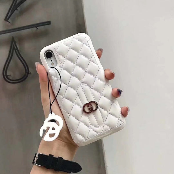 GG DIAMOND WHITE KEYCHAIN CASE