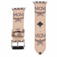 Designer Beige M.C.M Leather Apple Watch Band