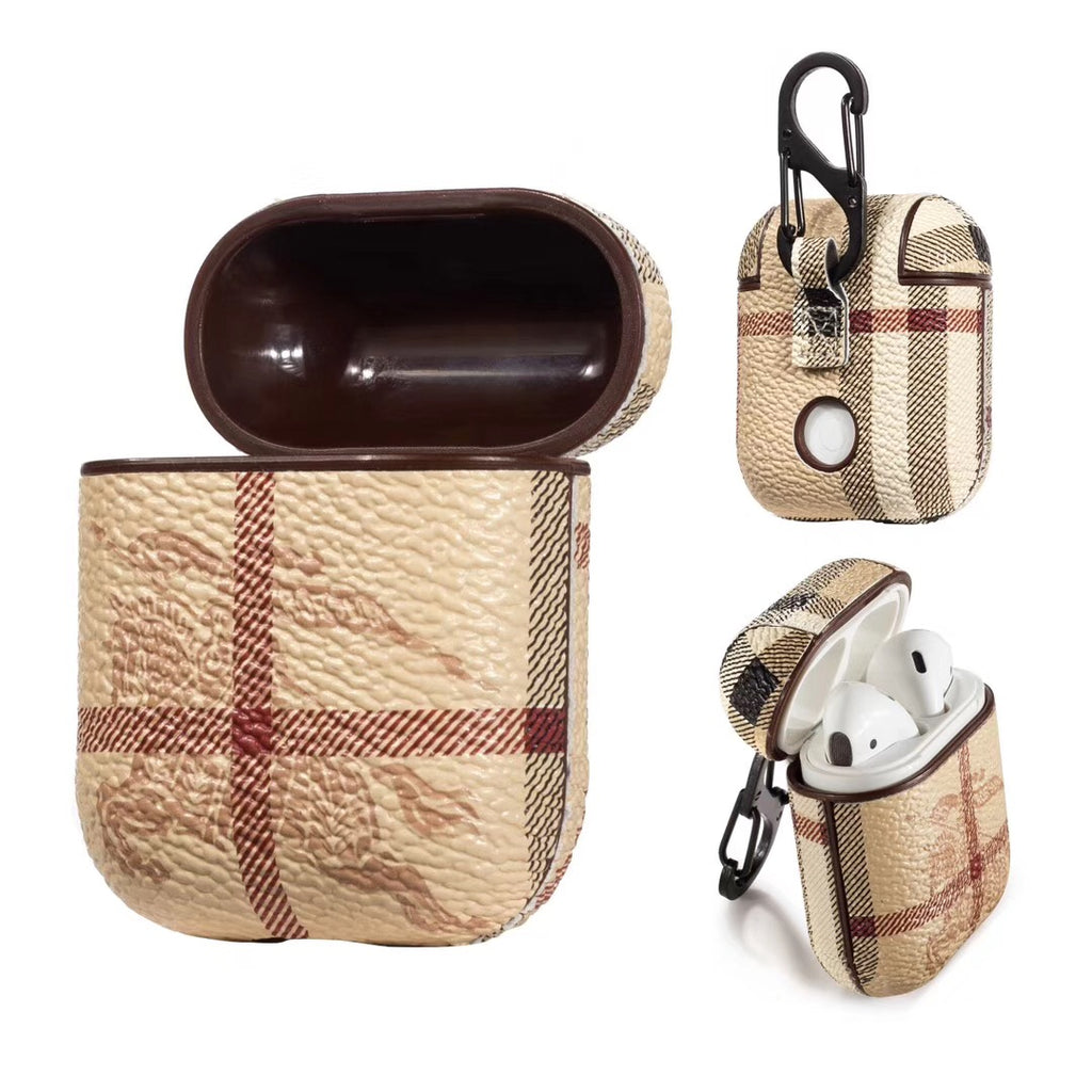 Beige Monogram Airpods Leather Case - Apple Specific