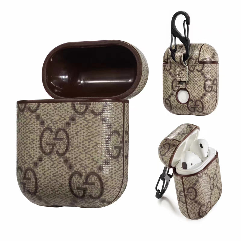 Brown GG AirPods Leather Case - Apple Specific
