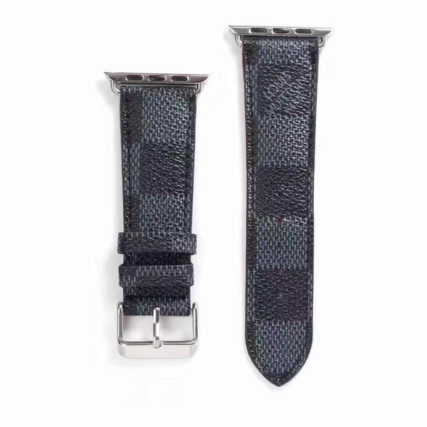 Designer Black Damier Apple Watch Leather Bands