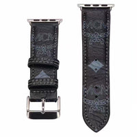 Designer Black M.C.M Leather Apple Watch Bands