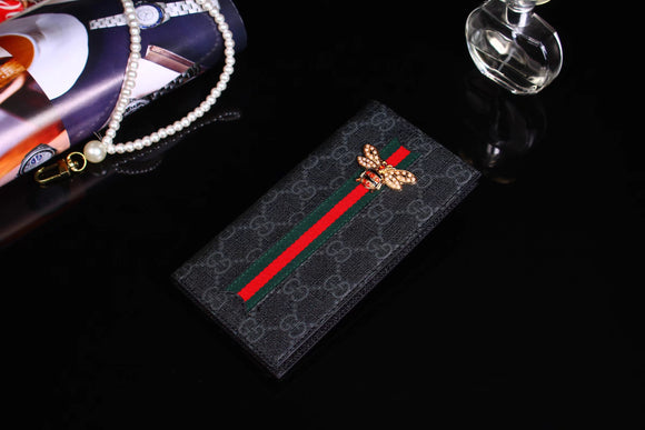 Bug & Stripes Black Monogram Flip Card Holder