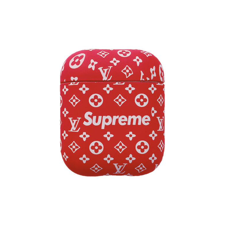 Red Sup Monogram Protective Apple Airpod Case - Red