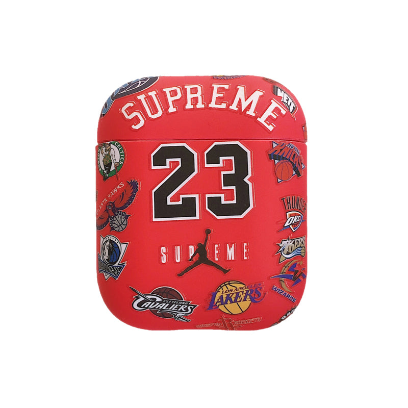 Supreme X Jordan X Nba Teams Protective Apple Airpod Case Red