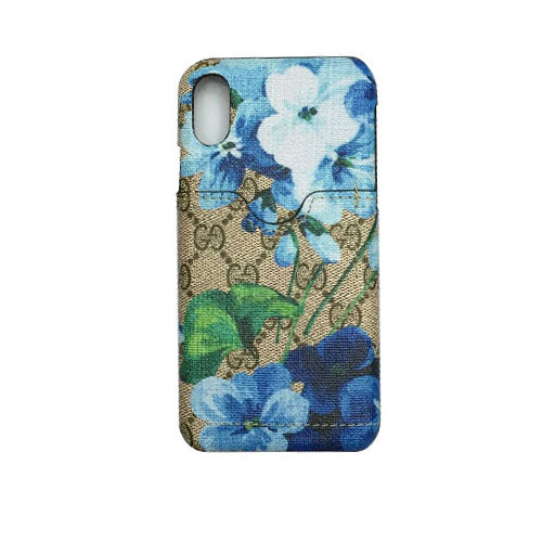 BLUE FLOWERS MONOGRAM CARD HOLDER CASE