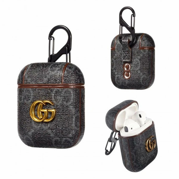 Gucci Pendant Black Monogram Apple Airpods Case