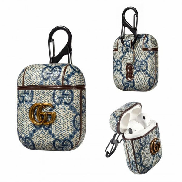 Gucci Pendant Blue Monogram Apple Airpods Case