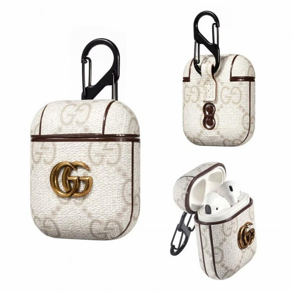 Gucci Pendant White Monogram Apple Airpods Case Elevatedcases