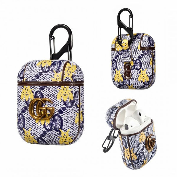 GG Blue Monogram Bee Airpods Case