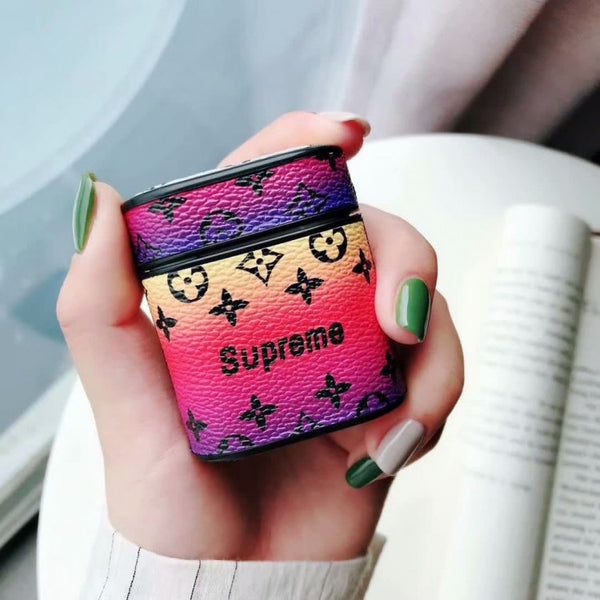 LV x Supreme Monogram Apple Airpods Case - Red Gradient
