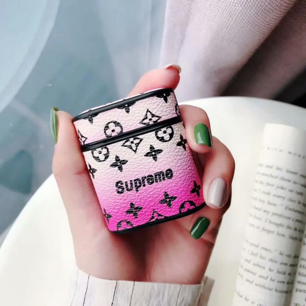 LV x Supreme Monogram Apple Airpods Case - Pink Gradient
