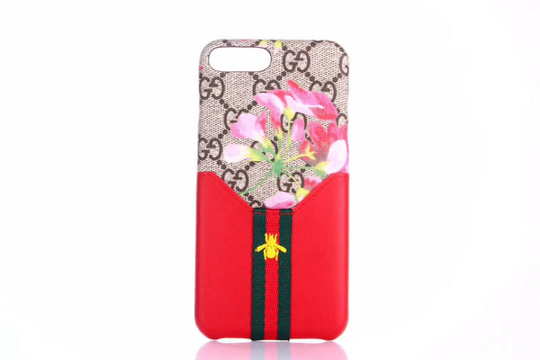 GG Flower Monogram Red Bee Pocket Card Holder Case