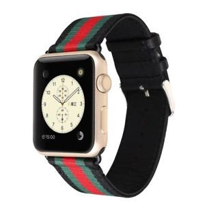Stripes Leather/Nylon Watch Band - Black