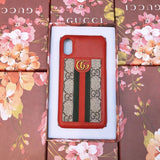 GG Monogram Fabric w Red Leather Case