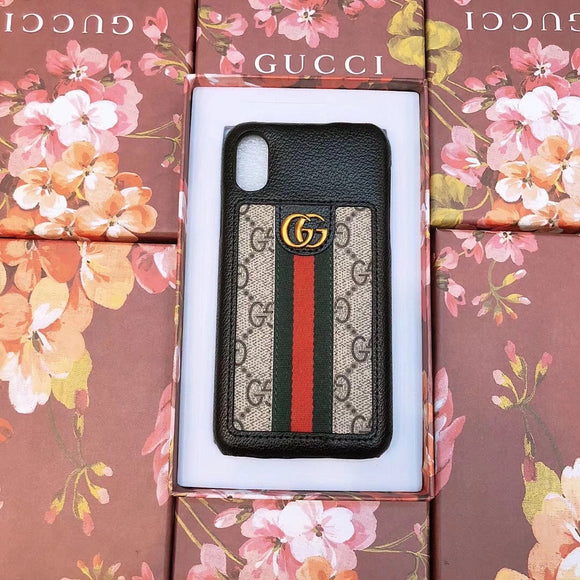 GG Monogram Black Leather Case