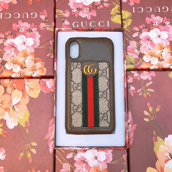 GG Monogram Brown Leather Case